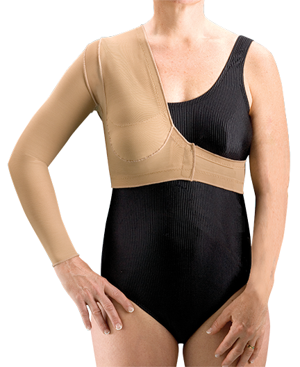 compression therapy bolero with long right sleeve